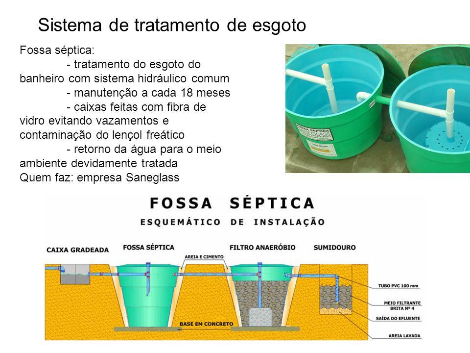 Sistema de tratamento de esgoto Fossa séptica: - tratamento do esgoto do banheiro com sistema hidráulico comum - manutenção a cada 18 meses - caixas f