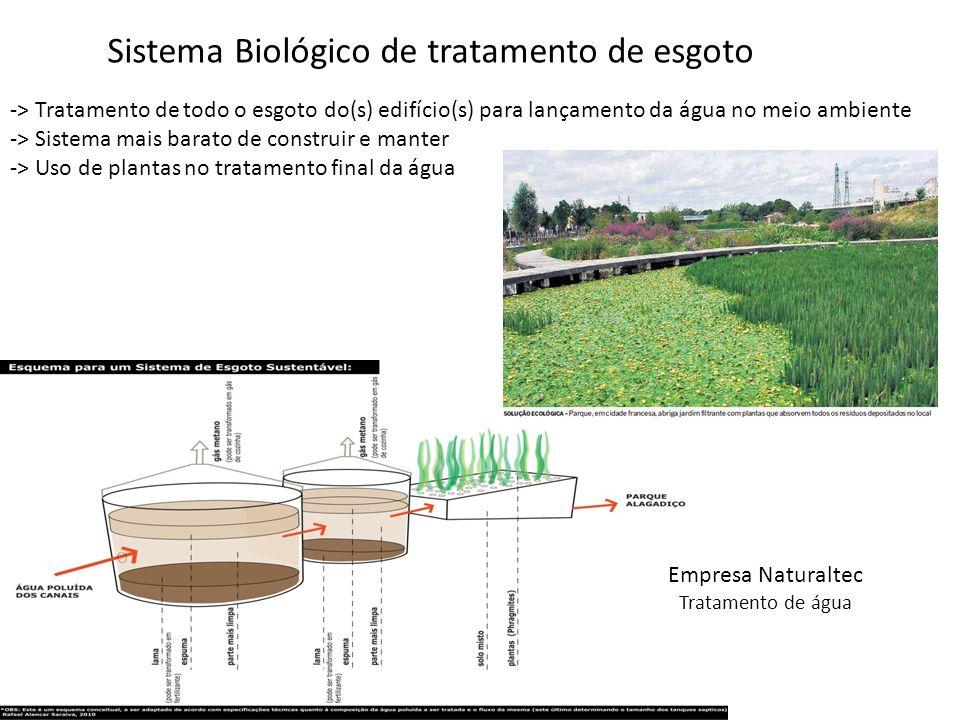 -> Tratamento de todo o esgoto do(s) edifício(s) para lançamento da água no meio ambiente -> Sistema mais barato de construir e manter -> Uso de plant