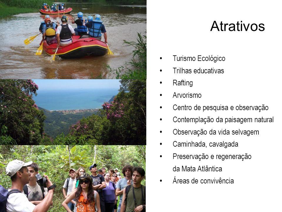 Atrativos Turismo Ecológico Trilhas educativas Rafting Arvorismo Centro de pesquisa e observação Contemplação da paisagem natural Observação da vida s