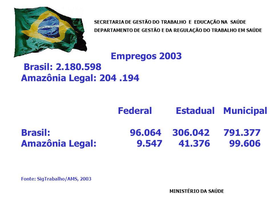 SECRETARIA DE GESTÃO DO TRABALHO E EDUCAÇÃO NA SAÚDE DEPARTAMENTO DE GESTÃO E DA REGULAÇÃO DO TRABALHO EM SAÚDE MINISTÉRIO DA SAÚDE Empregos 2003 Brasil: 2.180.598 Amazônia Legal: 204.194 Federal Estadual Municipal Brasil: 96.064 306.042 791.377 Amazônia Legal: 9.547 41.376 99.606 Fonte: SigTrabalho/AMS, 2003