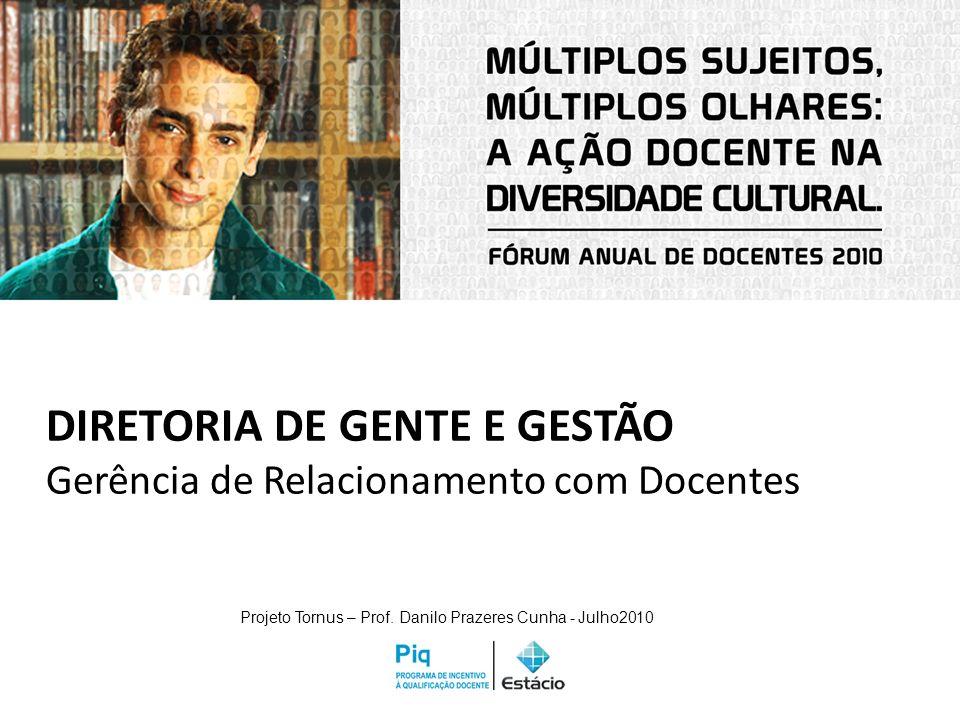 DIRETORIA DE GENTE E GESTÃO Gerência de Relacionamento com Docentes Projeto Tornus – Prof. Danilo Prazeres Cunha - Julho2010