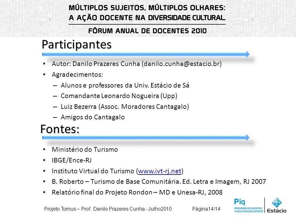 Participantes Autor: Danilo Prazeres Cunha (danilo.cunha@estacio.br) Agradecimentos: – Alunos e professores da Univ. Estácio de Sá – Comandante Leonar