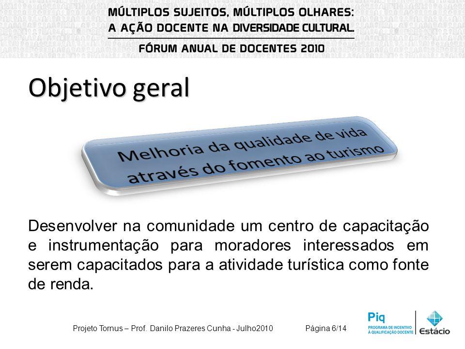 Objetivo geral Desenvolver na comunidade um centro de capacitação e instrumentação para moradores interessados em serem capacitados para a atividade t