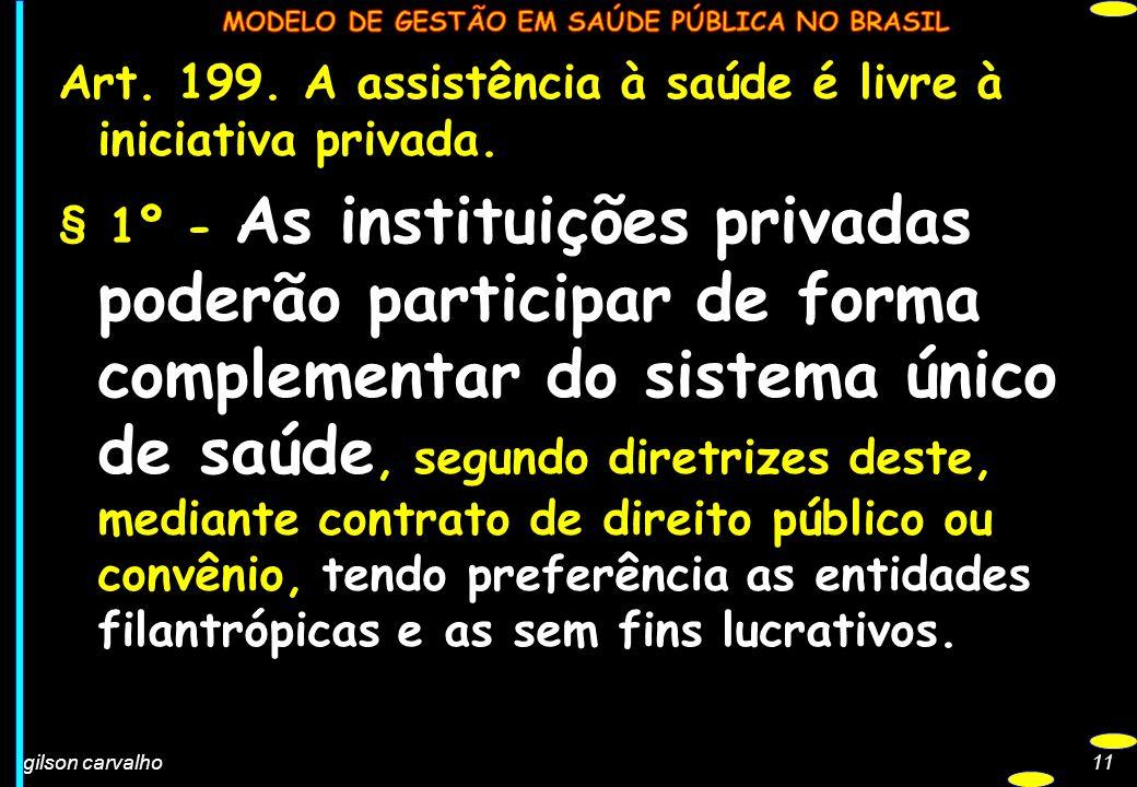 gilson carvalho11 Art. 199. A assistência à saúde é livre à iniciativa privada. § 1º - As instituições privadas poderão participar de forma complement