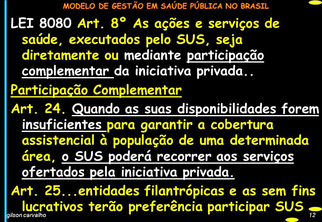 gilson carvalho12 LEI 8080 Art. 8º As ações e serviços de saúde, executados pelo SUS, seja diretamente ou mediante participação complementar da inicia