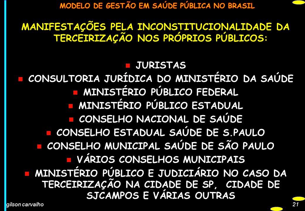 gilson carvalho21 MANIFESTAÇÕES PELA INCONSTITUCIONALIDADE DA TERCEIRIZAÇÃO NOS PRÓPRIOS PÚBLICOS: n JURISTAS n CONSULTORIA JURÍDICA DO MINISTÉRIO DA