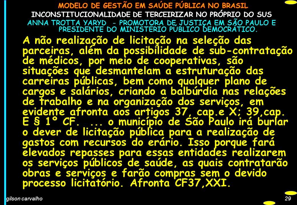 gilson carvalho29 INCONSTITUCIONALIDADE DE TERCEIRIZAR NO PRÓPRIO DO SUS ANNA TROTTA YARYD - PROMOTORA DE JUSTIÇA EM SÃO PAULO E PRESIDENTE DO MINISTÉ