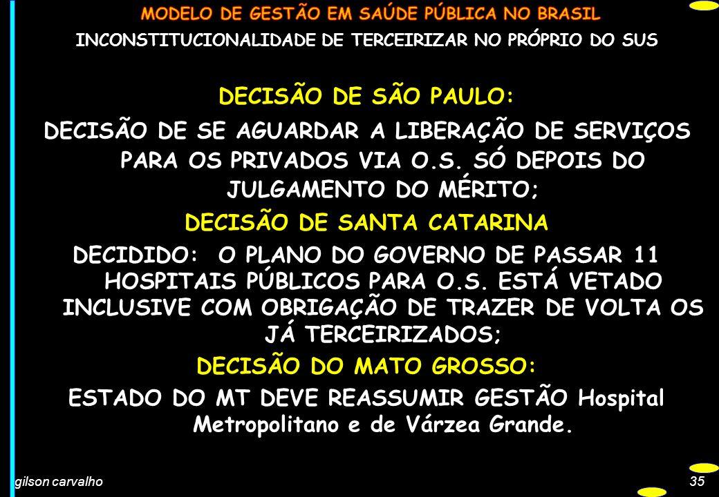 gilson carvalho35 INCONSTITUCIONALIDADE DE TERCEIRIZAR NO PRÓPRIO DO SUS DECISÃO DE SÃO PAULO: DECISÃO DE SE AGUARDAR A LIBERAÇÃO DE SERVIÇOS PARA OS