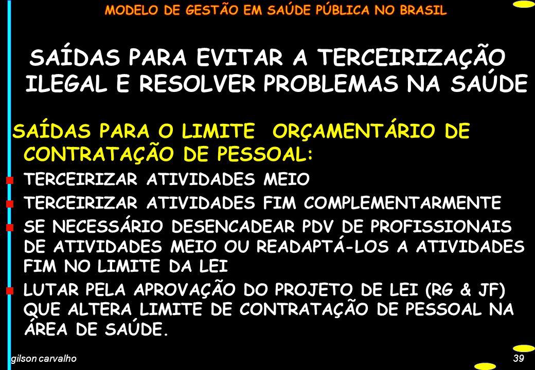 gilson carvalho39 SAÍDAS PARA EVITAR A TERCEIRIZAÇÃO ILEGAL E RESOLVER PROBLEMAS NA SAÚDE SAÍDAS PARA O LIMITE ORÇAMENTÁRIO DE CONTRATAÇÃO DE PESSOAL: