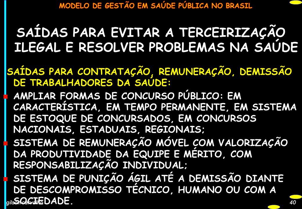 gilson carvalho40 SAÍDAS PARA EVITAR A TERCEIRIZAÇÃO ILEGAL E RESOLVER PROBLEMAS NA SAÚDE SAÍDAS PARA CONTRATAÇÃO, REMUNERAÇÃO, DEMISSÃO DE TRABALHADO