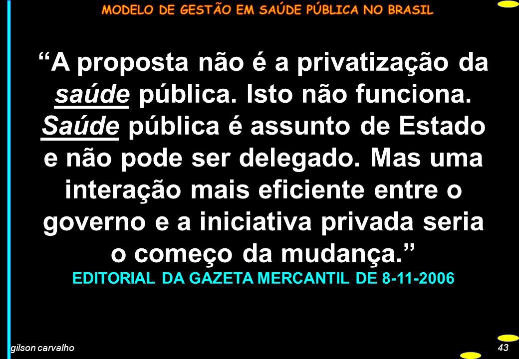 gilson carvalho43 A proposta não é a privatização da saúde pública. Isto não funciona. Saúde pública é assunto de Estado e não pode ser delegado. Mas