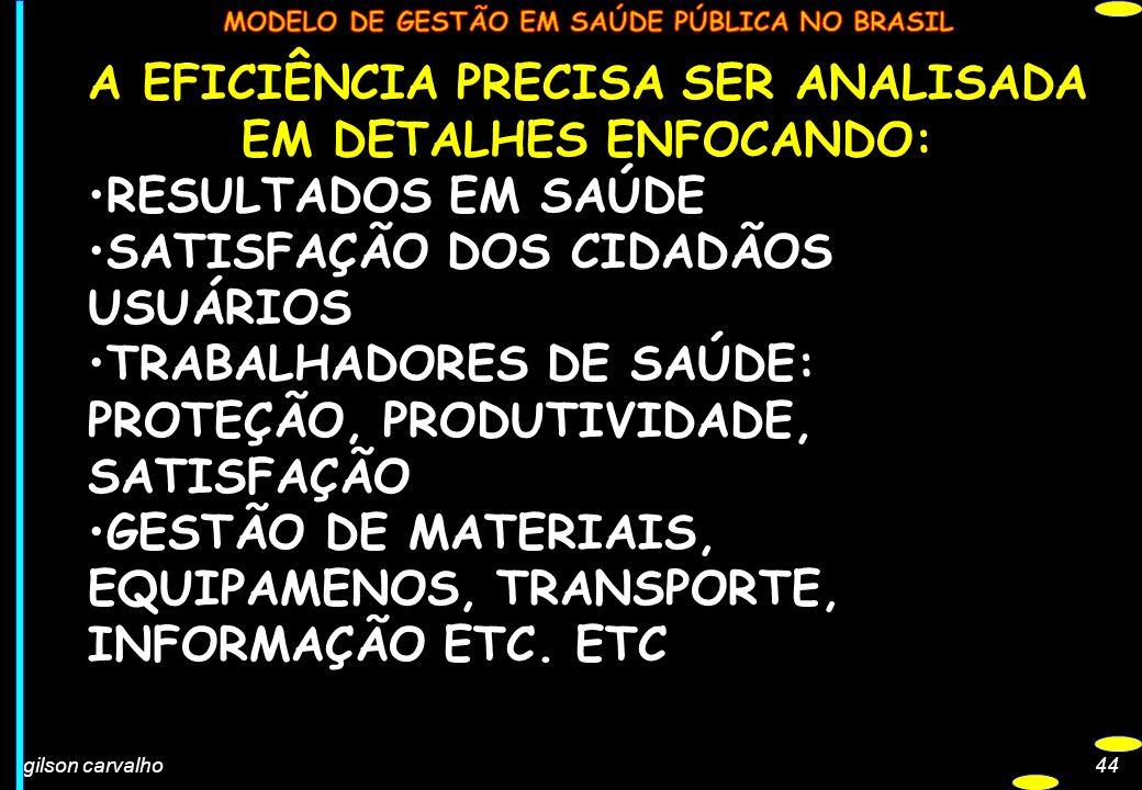 gilson carvalho44 A EFICIÊNCIA PRECISA SER ANALISADA EM DETALHES ENFOCANDO: RESULTADOS EM SAÚDE SATISFAÇÃO DOS CIDADÃOS USUÁRIOS TRABALHADORES DE SAÚD
