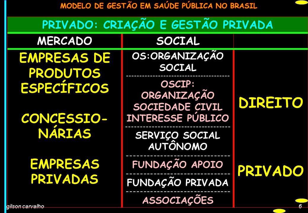 gilson carvalho6 PRIVADO: CRIAÇÃO E GESTÃO PRIVADA MERCADOSOCIAL EMPRESAS DE PRODUTOS ESPECÍFICOS CONCESSIO- NÁRIAS EMPRESAS PRIVADAS OS:ORGANIZAÇÃO S