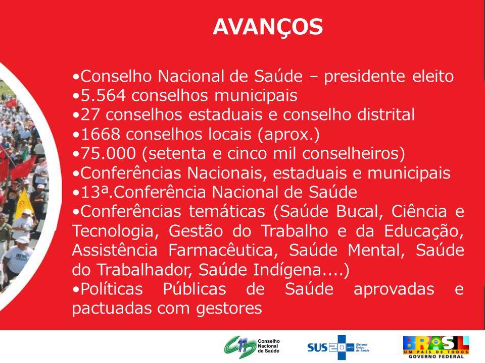 AVANÇOS Conselho Nacional de Saúde – presidente eleito 5.564 conselhos municipais 27 conselhos estaduais e conselho distrital 1668 conselhos locais (a