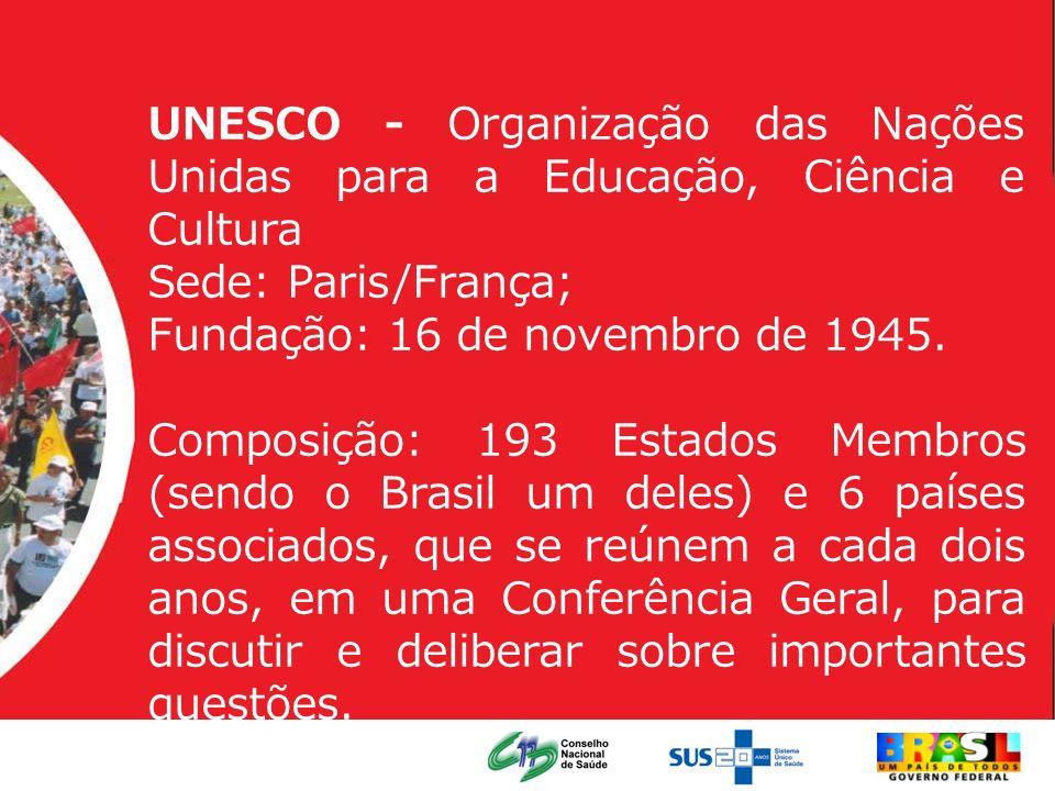 UNESCO - Organização das Nações Unidas para a Educação, Ciência e Cultura Sede: Paris/França; Fundação: 16 de novembro de 1945. Composição: 193 Estado