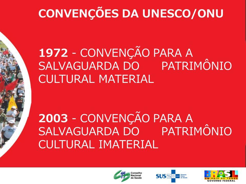 CONVENÇÕES DA UNESCO/ONU 1972 - CONVENÇÃO PARA A SALVAGUARDA DO PATRIMÔNIO CULTURAL MATERIAL 2003 - CONVENÇÃO PARA A SALVAGUARDA DO PATRIMÔNIO CULTURA