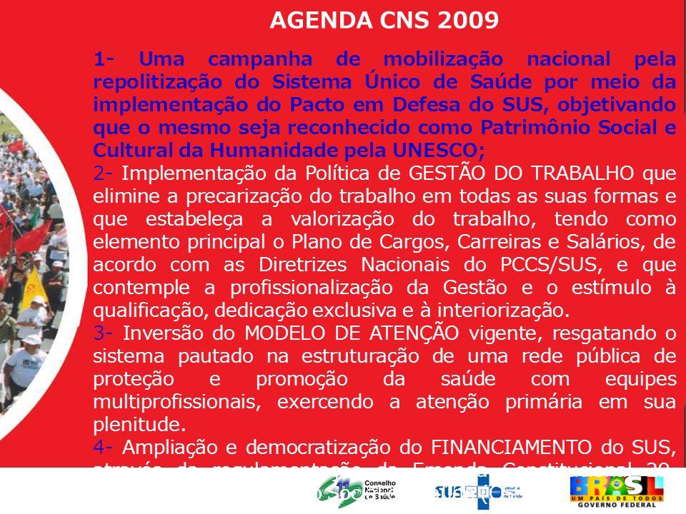 AGENDA CNS 2009 1- Uma campanha de mobilização nacional pela repolitização do Sistema Único de Saúde por meio da implementação do Pacto em Defesa do S