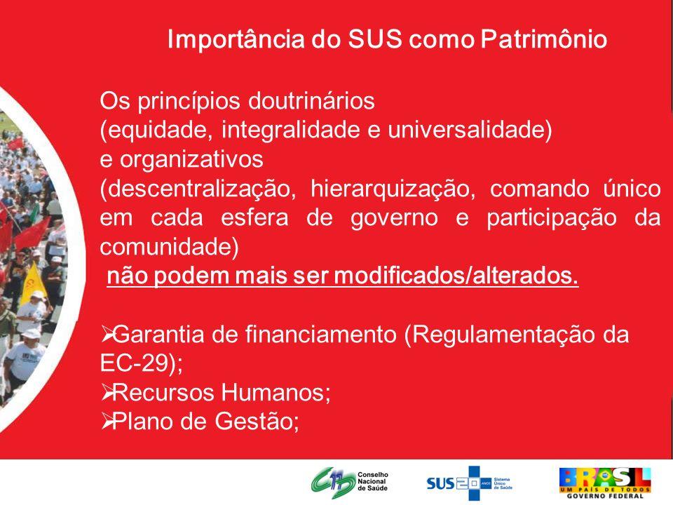 Importância do SUS como Patrimônio Os princípios doutrinários (equidade, integralidade e universalidade) e organizativos (descentralização, hierarquiz