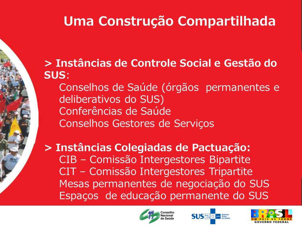 Uma Construção Compartilhada > Instâncias de Controle Social e Gestão do SUS: Conselhos de Saúde (órgãos permanentes e deliberativos do SUS) Conferênc