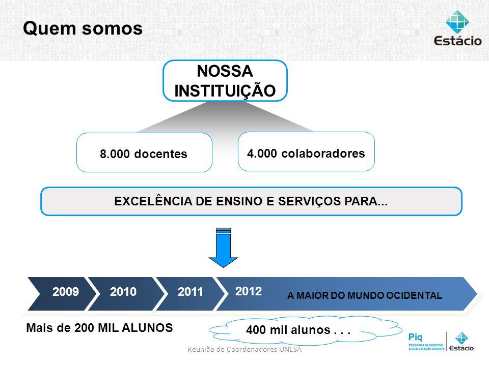 4 de abril de 20143 Quem somos 20112010 2012 2009 Mais de 200 MIL ALUNOS A MAIOR DO MUNDO OCIDENTAL 400 mil alunos... 4.000 colaboradores 8.000 docent