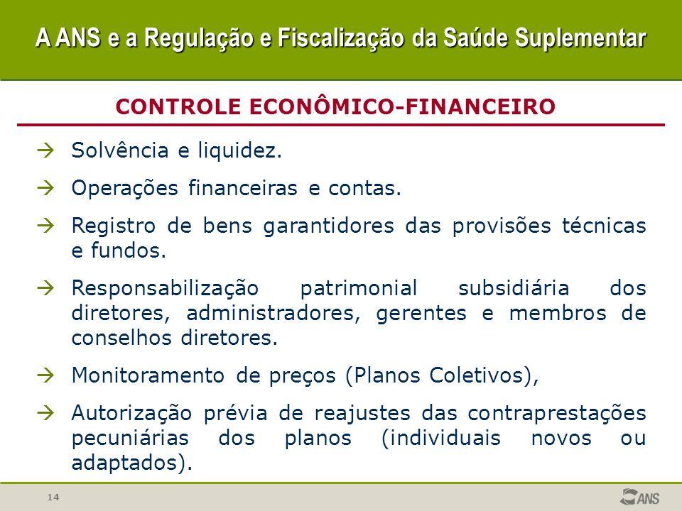 14 CONTROLE ECONÔMICO-FINANCEIRO Solvência e liquidez. Operações financeiras e contas. Registro de bens garantidores das provisões técnicas e fundos.