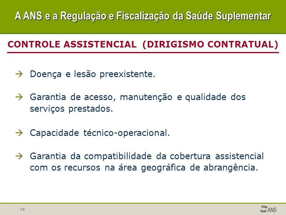 16 CONTROLE ASSISTENCIAL (DIRIGISMO CONTRATUAL) Doença e lesão preexistente. Garantia de acesso, manutenção e qualidade dos serviços prestados. Capaci
