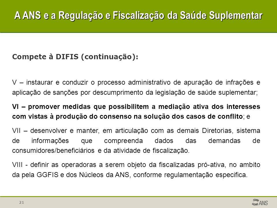 21 Compete à DIFIS (continuação): V – instaurar e conduzir o processo administrativo de apuração de infrações e aplicação de sanções por descumpriment