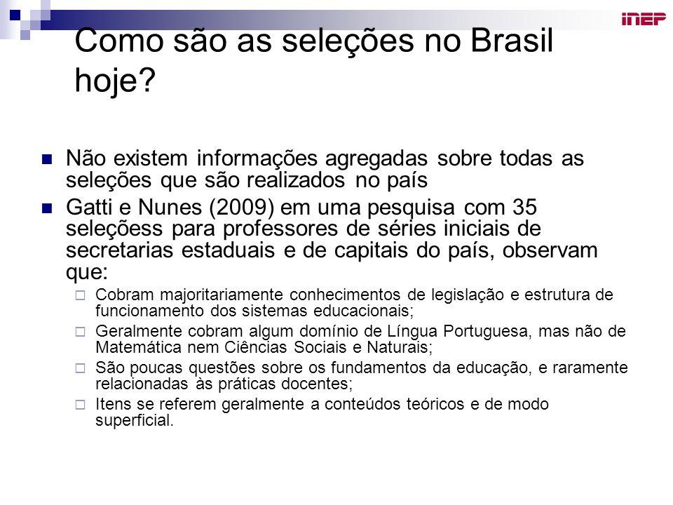 Como são as seleções no Brasil hoje? Não existem informações agregadas sobre todas as seleções que são realizados no país Gatti e Nunes (2009) em uma
