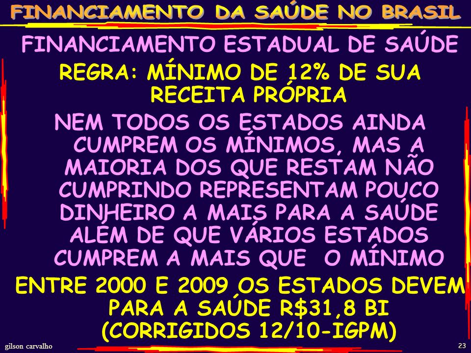 gilson carvalho 22 ESTADOS GASTOS RECURSOS PRÓPRIOS 2000-2011