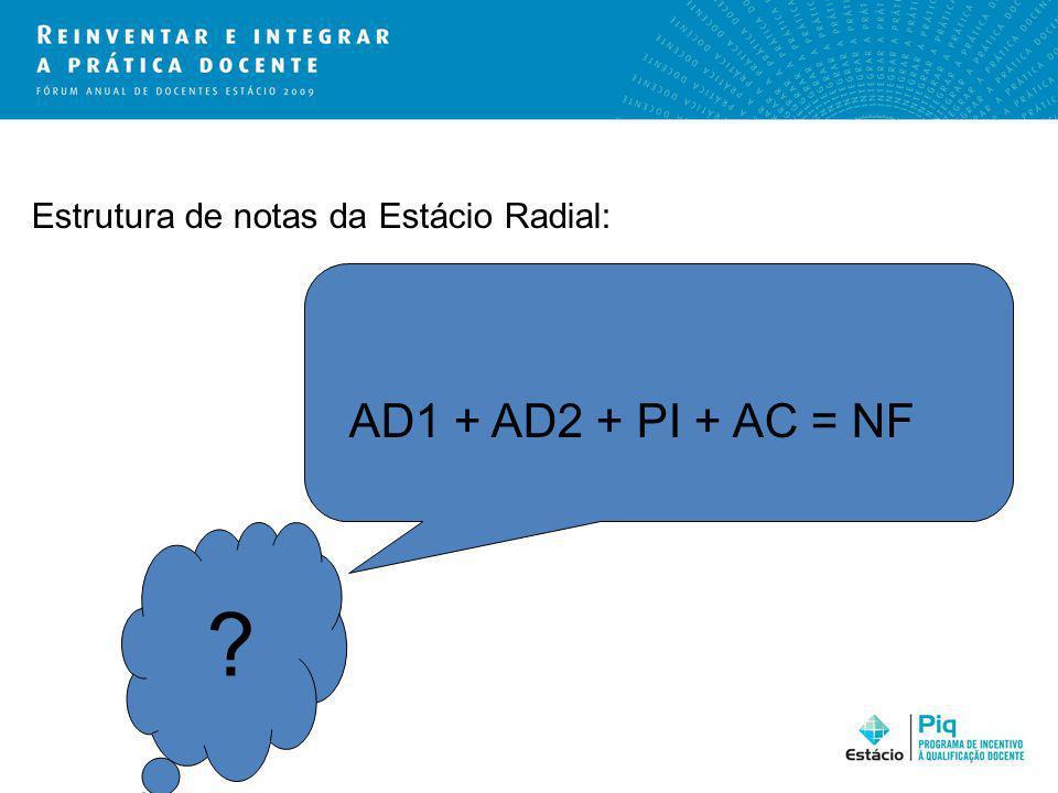 Estrutura de notas da Estácio Radial: AD1 + AD2 + PI + AC = NF ?
