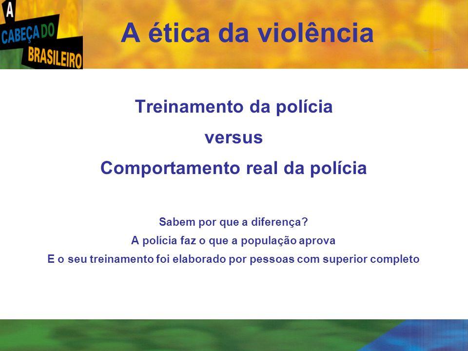 [ 16 ] Treinamento da polícia versus Comportamento real da polícia Sabem por que a diferença? A polícia faz o que a população aprova E o seu treinamen