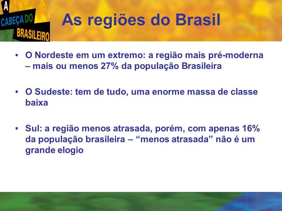 [ 47 ] As regiões do Brasil O Nordeste em um extremo: a região mais pré-moderna – mais ou menos 27% da população Brasileira O Sudeste: tem de tudo, um