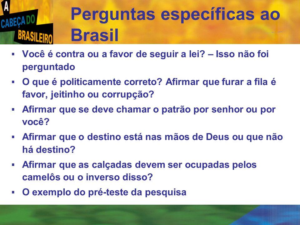 [ 68 ] Perguntas específicas ao Brasil Você é contra ou a favor de seguir a lei? – Isso não foi perguntado O que é politicamente correto? Afirmar que