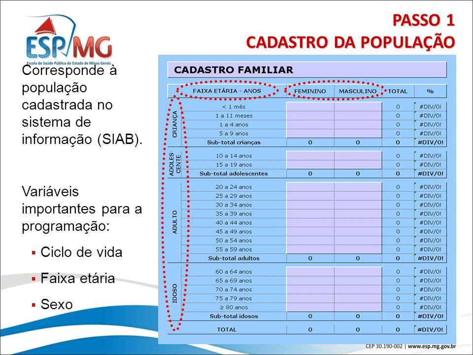 11 PASSO 1 CADASTRO DA POPULAÇÃO Corresponde à população cadastrada no sistema de informação (SIAB). Variáveis importantes para a programação: Ciclo d