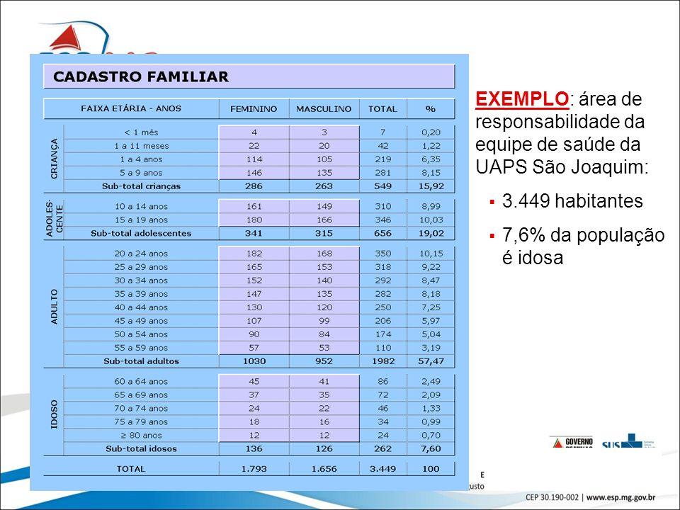 12 EXEMPLO: área de responsabilidade da equipe de saúde da UAPS São Joaquim: 3.449 habitantes 7,6% da população é idosa