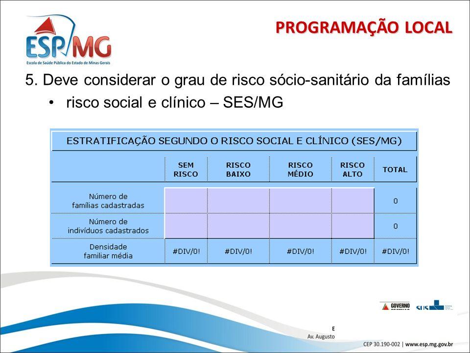 14 PROGRAMAÇÃO LOCAL 5.Deve considerar o grau de risco sócio-sanitário da famílias risco social e clínico – SES/MG