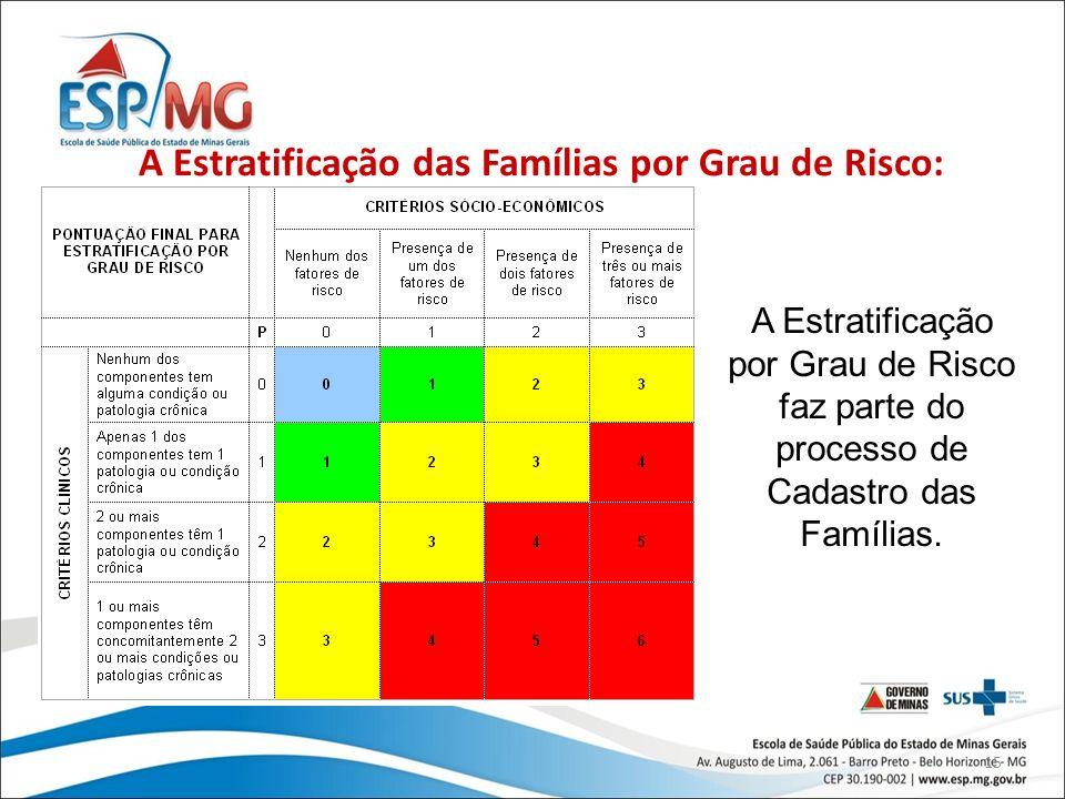 15 A Estratificação das Famílias por Grau de Risco: A Estratificação por Grau de Risco faz parte do processo de Cadastro das Famílias.