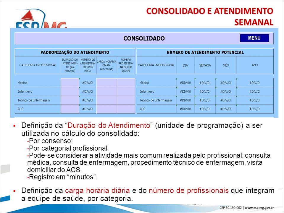 27 CONSOLIDADO E ATENDIMENTO SEMANAL Definição da Duração do Atendimento (unidade de programação) a ser utilizada no cálculo do consolidado: Por conse