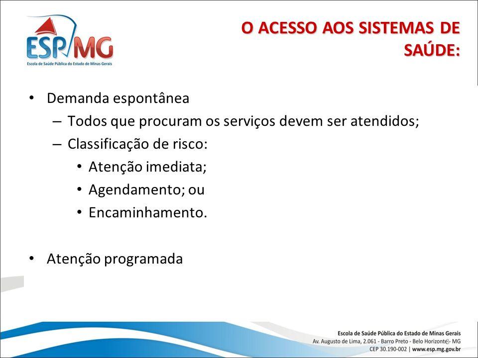 3 Demanda espontânea – Todos que procuram os serviços devem ser atendidos; – Classificação de risco: Atenção imediata; Agendamento; ou Encaminhamento.