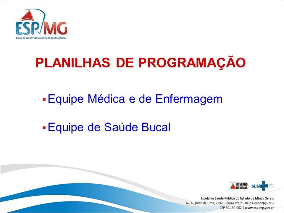 39 PLANILHAS DE PROGRAMAÇÃO Equipe Médica e de Enfermagem Equipe de Saúde Bucal