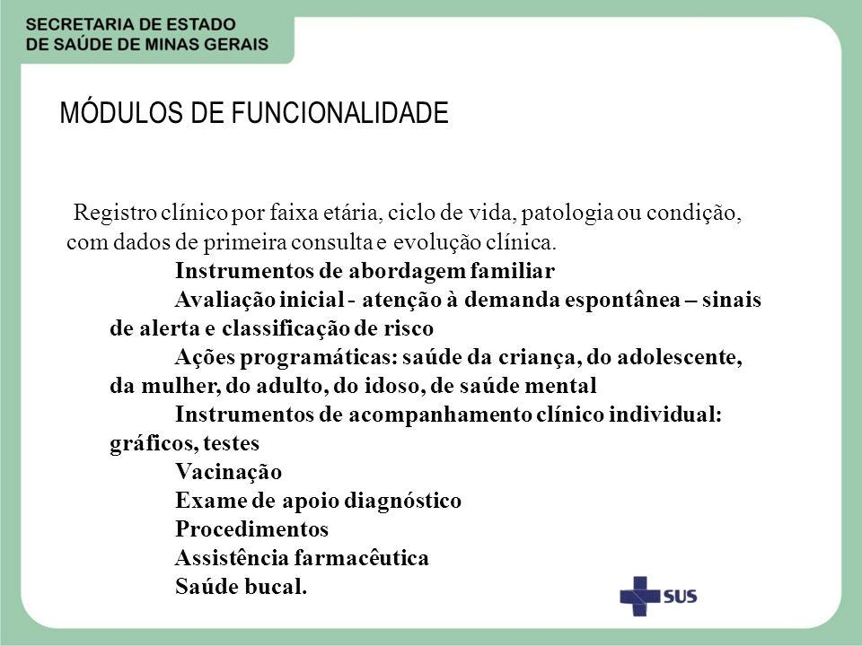MÓDULOS DE FUNCIONALIDADE Registro clínico por faixa etária, ciclo de vida, patologia ou condição, com dados de primeira consulta e evolução clínica.