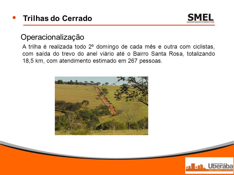 Trilhas do Cerrado Operacionalização A trilha é realizada todo 2º domingo de cada mês e outra com ciclistas, com saída do trevo do anel viário até o B