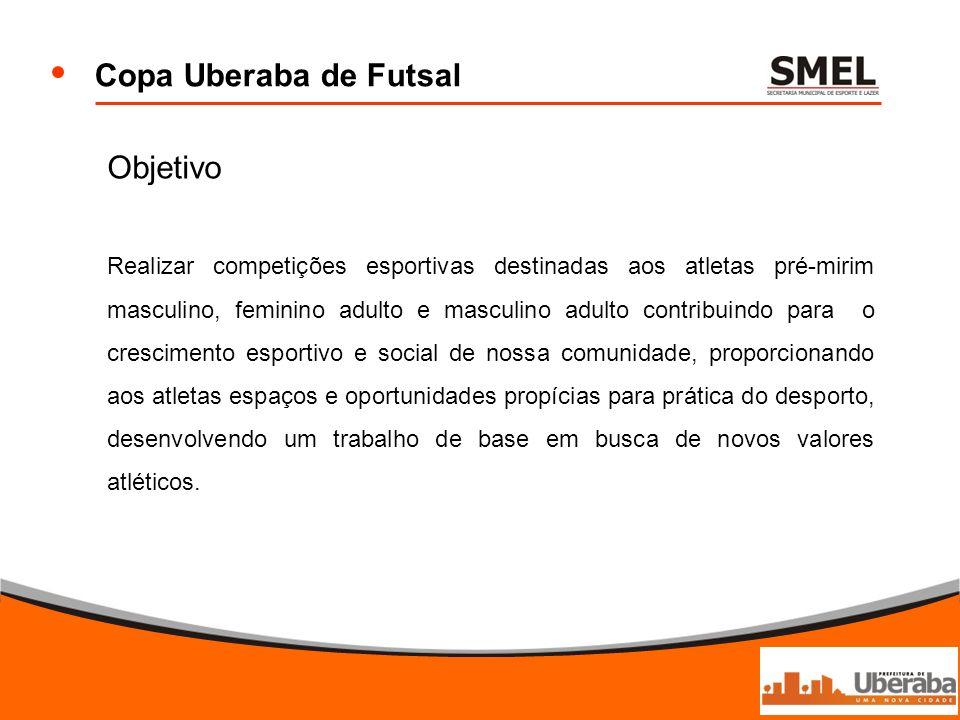 Copa Uberaba de Futsal Objetivo Realizar competições esportivas destinadas aos atletas pré-mirim masculino, feminino adulto e masculino adulto contrib