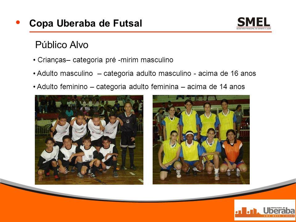 Copa Uberaba de Futsal Público Alvo Crianças– categoria pré -mirim masculino Adulto masculino – categoria adulto masculino - acima de 16 anos Adulto f