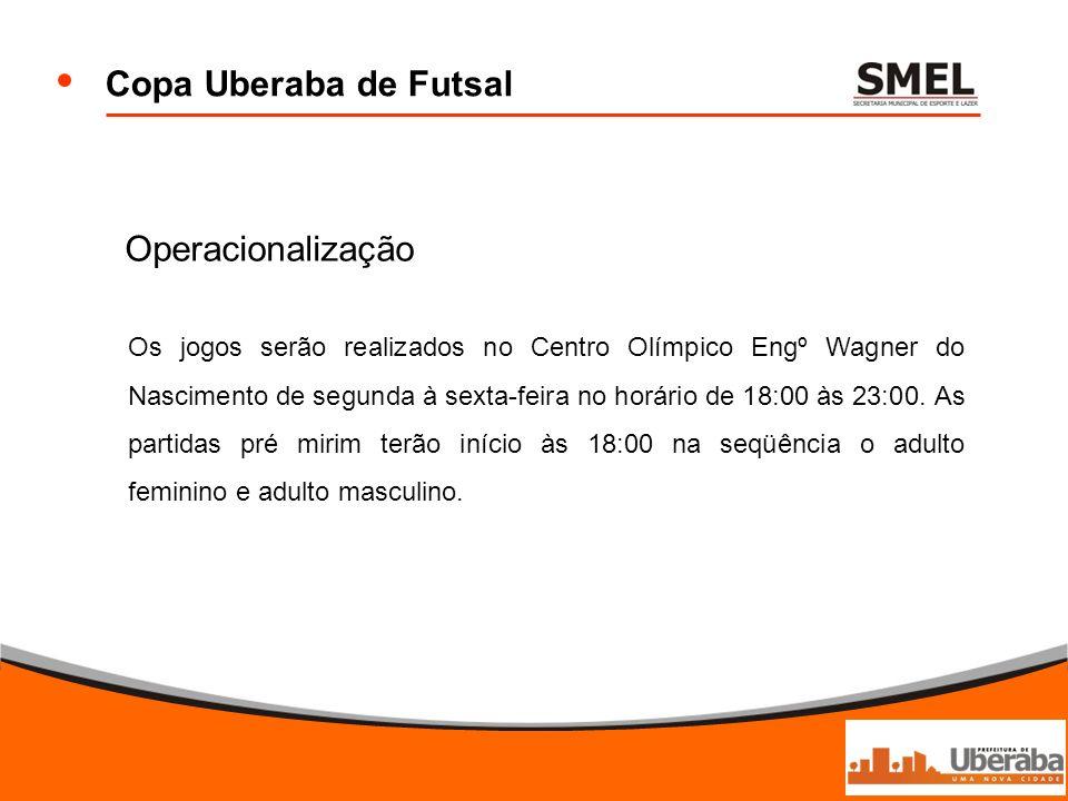Copa Uberaba de Futsal Operacionalização Os jogos serão realizados no Centro Olímpico Engº Wagner do Nascimento de segunda à sexta-feira no horário de