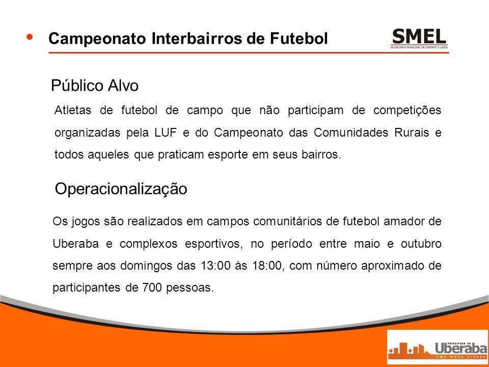 Campeonato Interbairros de Futebol Público Alvo Atletas de futebol de campo que não participam de competições organizadas pela LUF e do Campeonato das
