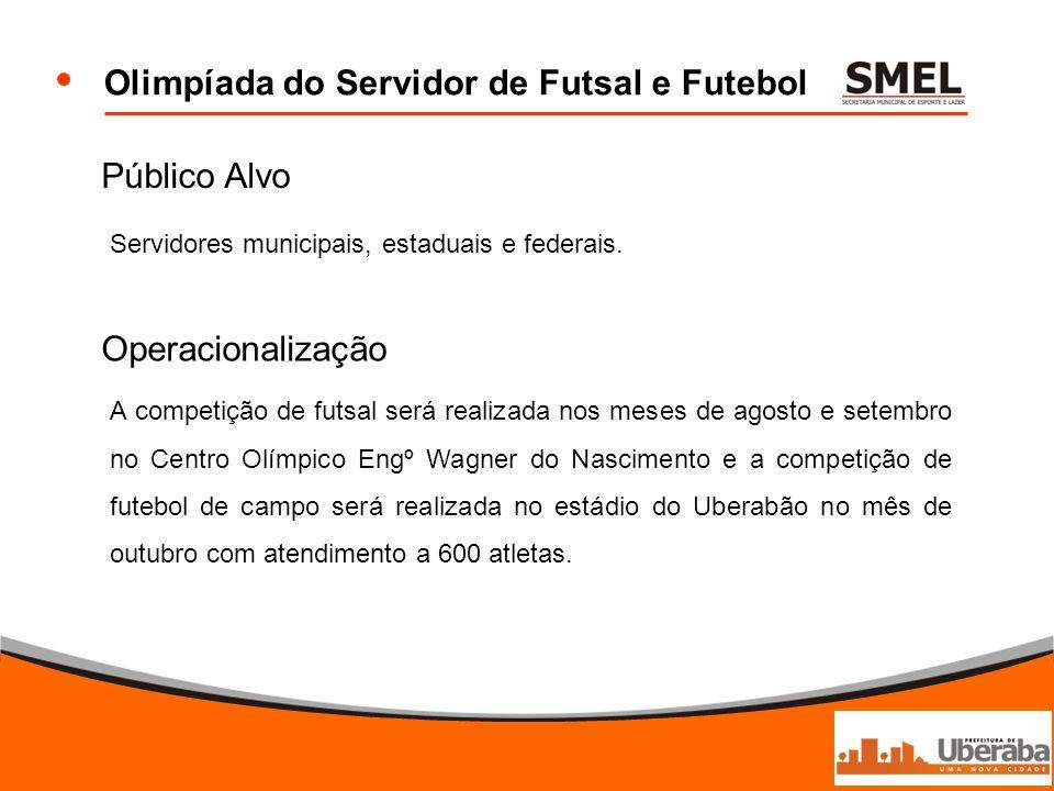 Olimpíada do Servidor de Futsal e Futebol Público Alvo Servidores municipais, estaduais e federais. Operacionalização A competição de futsal será real