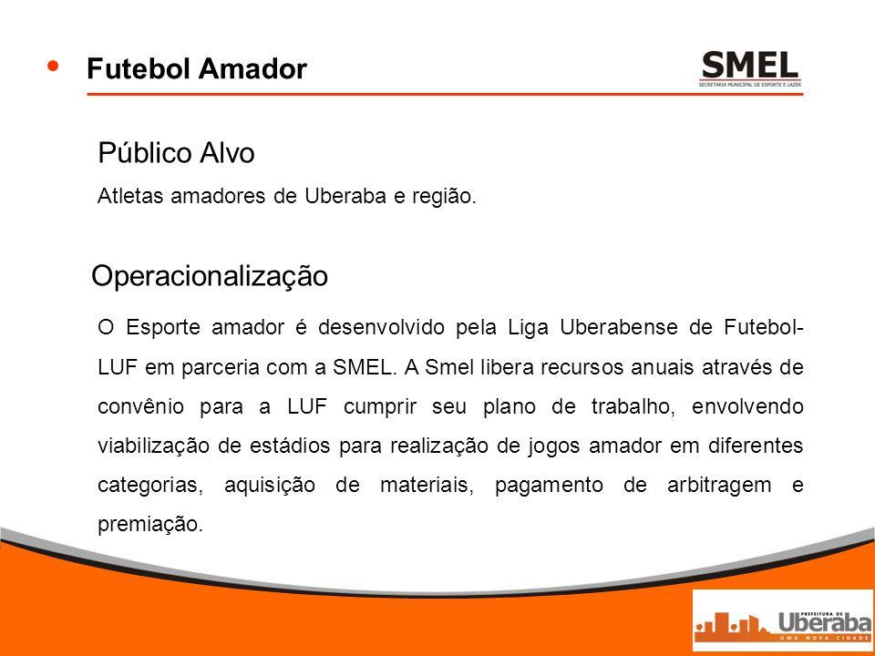 Futebol Amador Operacionalização O Esporte amador é desenvolvido pela Liga Uberabense de Futebol- LUF em parceria com a SMEL. A Smel libera recursos a