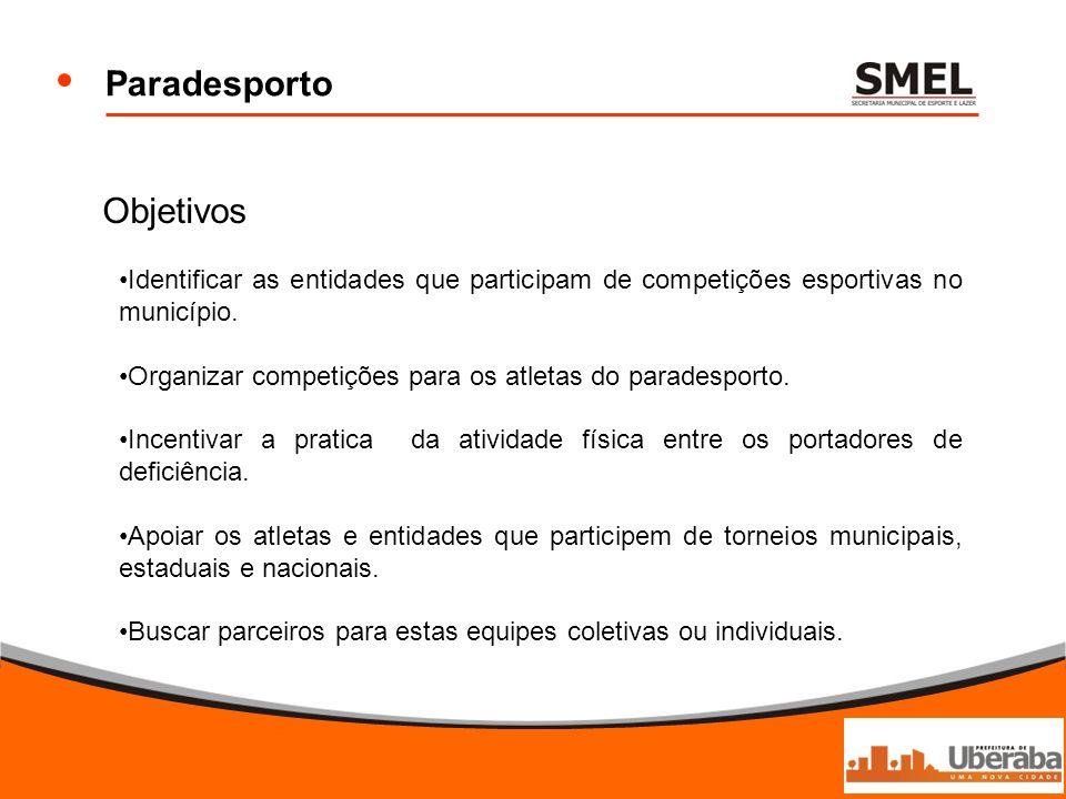 Paradesporto Objetivos Identificar as entidades que participam de competições esportivas no município. Organizar competições para os atletas do parade