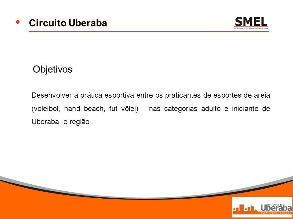 Objetivos Desenvolver a prática esportiva entre os praticantes de esportes de areia (voleibol, hand beach, fut vôlei) nas categorias adulto e iniciant